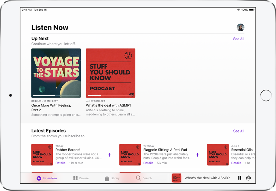 The Listen Now screen showing what's coming up next and latest episodes from the shows you subscribe to.