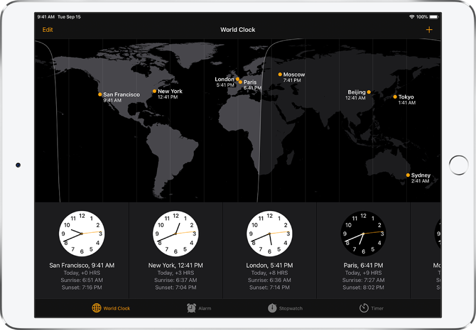The World Clock tab, showing the time in various cities. Tap Edit at the top left to manage your list of cities. Tap the Add button at the top right to add more. The World Clock, Alarm, Stopwatch, and Timer buttons are along the bottom.