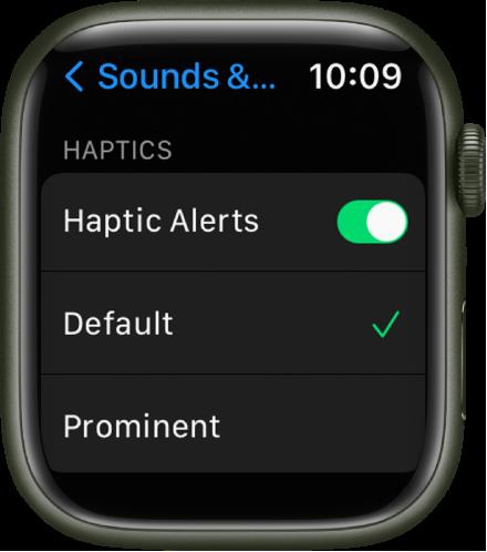 """Настройки на звук и осезание на Apple Watch с превключвател за осезаеми предупреждения и опциите """"По подразбиране"""" и """"Важни"""" под него."""