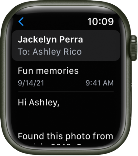 An email message open in the Mail app. The recipient's name appears at the top, the subject below, and then the body of the message near the bottom.