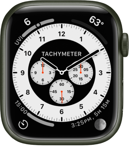 The Tachymeter variation of the Chronograph Pro watch face. It shows four complications: UV Index at the top left, Temperature at the top right, Timers at the bottom left, and Moon at the bottom right.