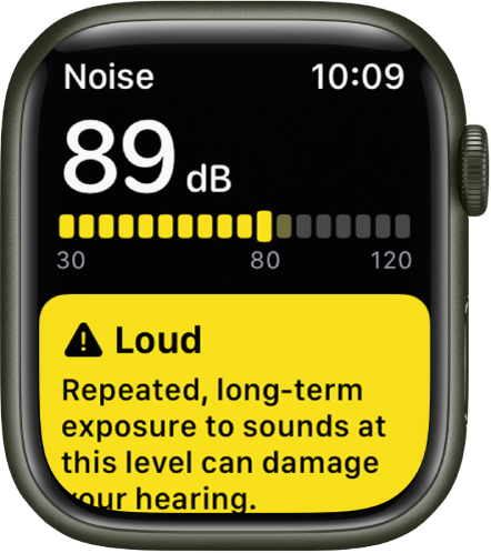 A Noise notification about an 89 decibel sound level. A warning about long-term exposure to this sound level appears below.