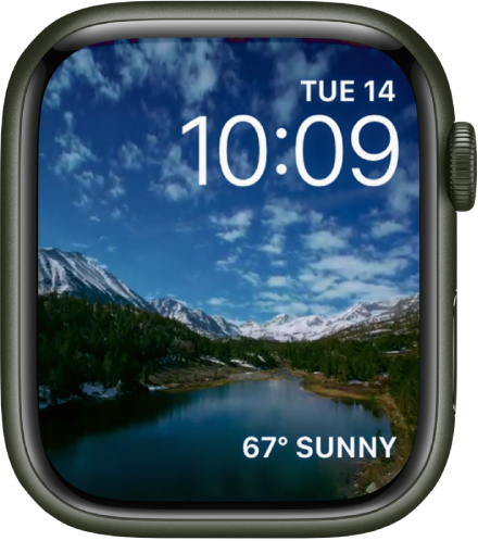 The Timelapse watch face shows timelapse video of a scenic locale. At the bottom is the Weather complication.