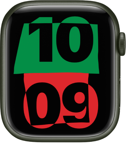 The Unity watch face showing the current time in the center of the screen.