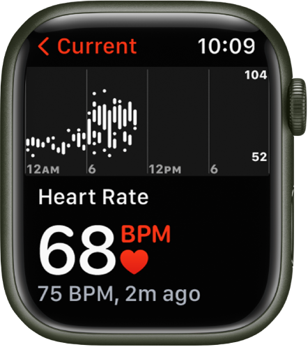 The Heart Rate app screen, with your current heart rate showing in the bottom left, your last reading in smaller type below that, and a chart above detailing your heart rate throughout the day.