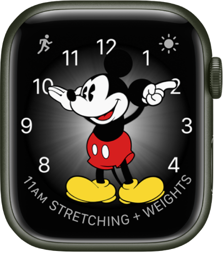 The Mickey Mouse watch face where you can add many complications. It shows three complications: Workout at the top left, Weather Conditions at the top right, and Calendar Schedule at the bottom.