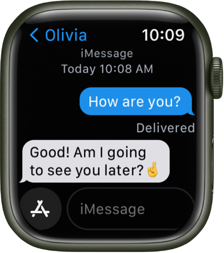 A message conversation. The App button and message field are at the bottom.