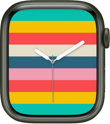 The Stripes watch face showing horizontal stripes of many colors.