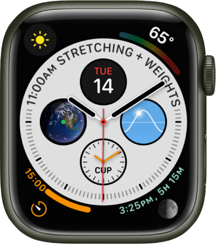 The Infograph watch face showing complications in each corner and four subdials in the middle.
