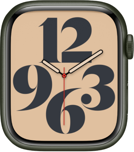 The Typograph watch face showing the time using Arabic numerals.