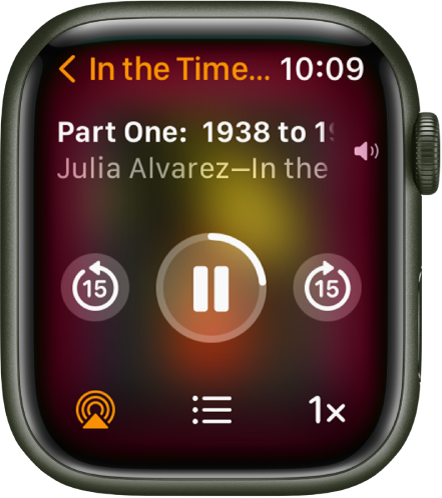 The Audiobooks Play screen with the audiobook title at the top, the chapter below, and playback controls below that.