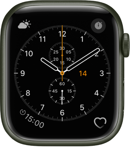 The Chronograph watch face, where you can adjust the face color and details of the dial. It shows four complications: Weather Conditions at the top left, Stopwatch at the top right, Timers at the bottom left, and Heart Rate at the bottom right.
