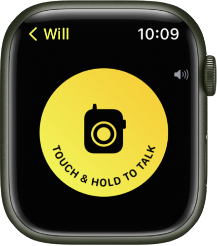 """The Walkie-Talkie screen showing a large Talk button in the middle. The Talk button reads """"Touch & Hold To Talk."""""""