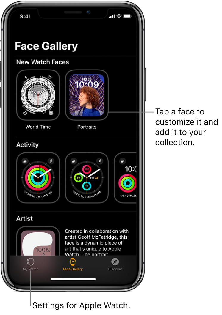Apple Watch app open to the Face Gallery. The top row shows faces that are new, the next rows show watch faces grouped by type—Activity and Artist, for example. You can scroll to see more faces grouped by type.