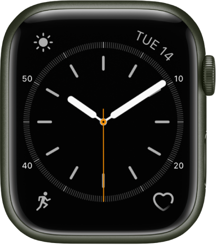 The Simple watch face, where you can adjust the color of the second hand and adjust the numbering and detail of the dial. There are four complications shown: Weather Conditions at the top left, Date at the top right, Workout at the bottom left, and Heart Rate at the bottom right.
