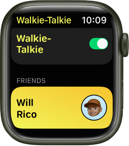 The Walkie-Talkie screen showing the Walkie-Talkie switch near the top and a friend you've invited at the bottom.