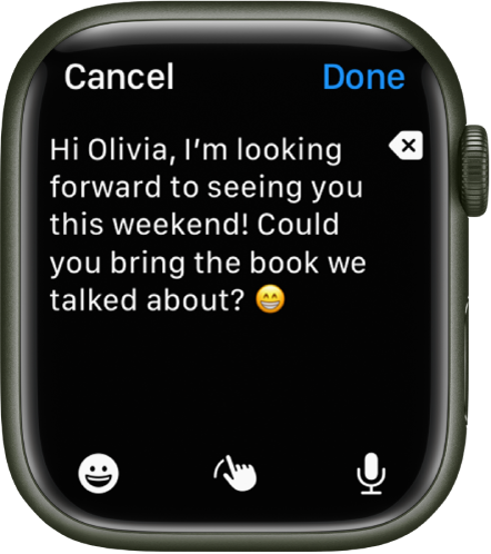 A text entry screen with text and an emoji near the top, and Emoji, Scribble, and Dictate buttons at the bottom.