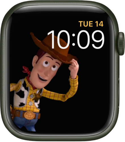 The Toy Story watch face shows the day, date, and time at the top right and an animated Woody in the left of the screen.