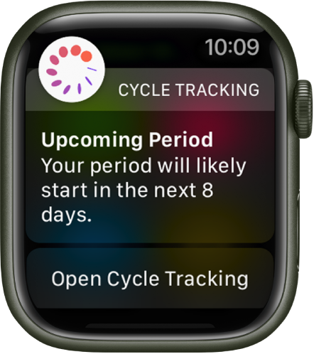 """Apple Watch showing a cycle prediction screen that reads """"Upcoming Period. Your period will likely start in the next 8 days."""" An Open Cycle Tracking button appears at the bottom."""