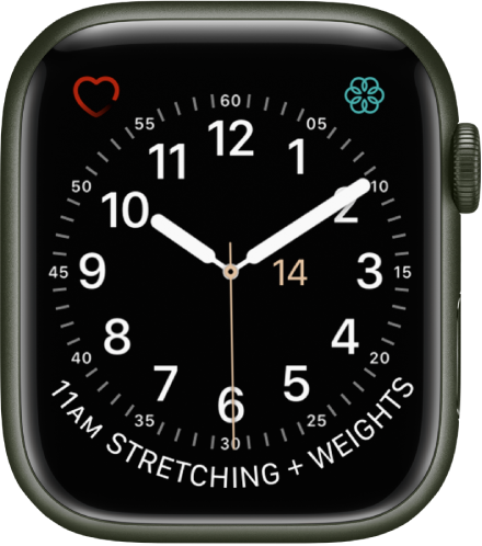 The Utility watch face, where you can adjust the color of the second hand and adjust the numbering and detail of the dial. Three complications appear: Heart Rate at the top left, Mindfulness at the top right, and Calendar Schedule at the bottom.