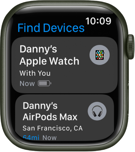 The Find Devices app showing two devices—an Apple Watch and AirPods.
