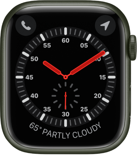 The Explorer watch face is an analog clock. It shows three complications: Phone at the top left, Compass at the top right, and Weather at the bottom.