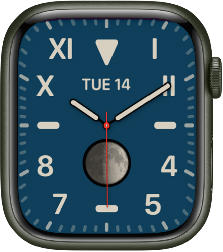 The California watch face, showing a mix of Roman and Arabic numerals. It shows the date and a Moon Phase complication.