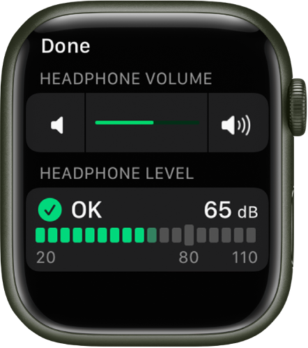 """The Headphone Volume screen showing a volume control at the top and a meter below, which displays the current headphone volume. The volume level is 65 dB and is marked """"OK."""""""