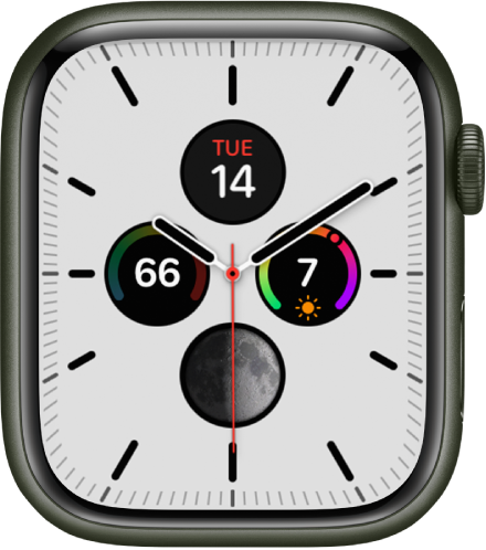 The Meridian watch face, where you can adjust the face color and details of the dial. It shows four complications inside an analog clock face: Calendar at the top, UV Index at the right, Moon Phase at the bottom, and Temperature on the left.