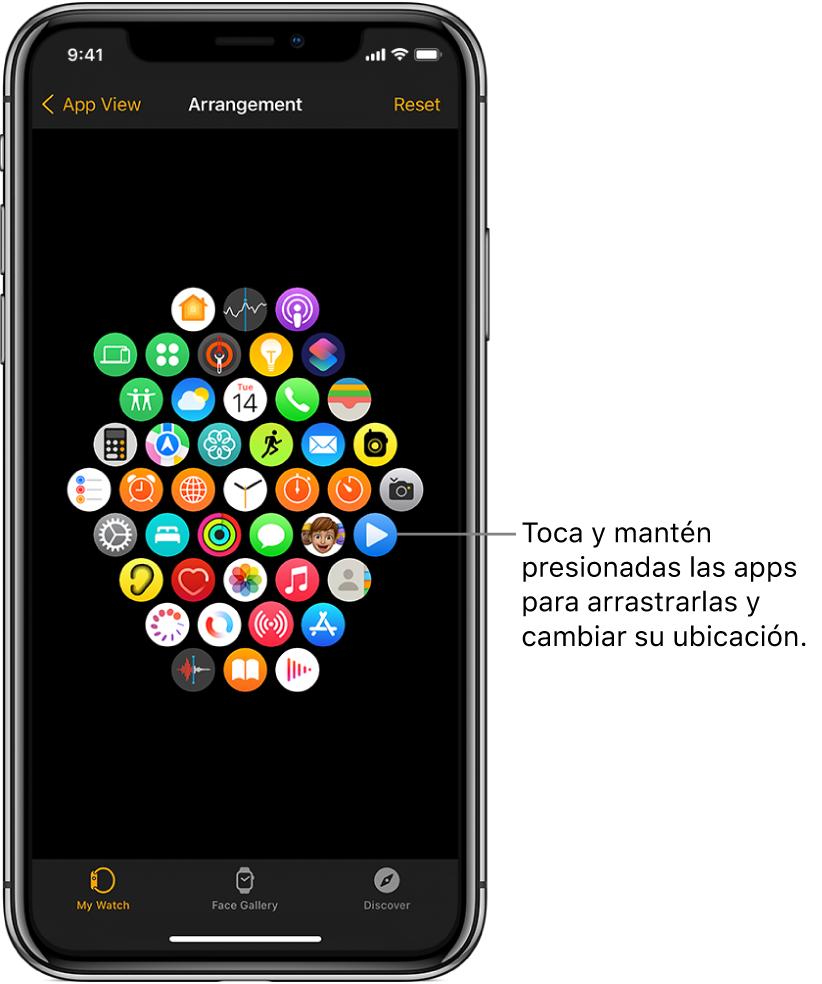 La pantalla Alineación en la app AppleWatch mostrando una cuadrícula de íconos.
