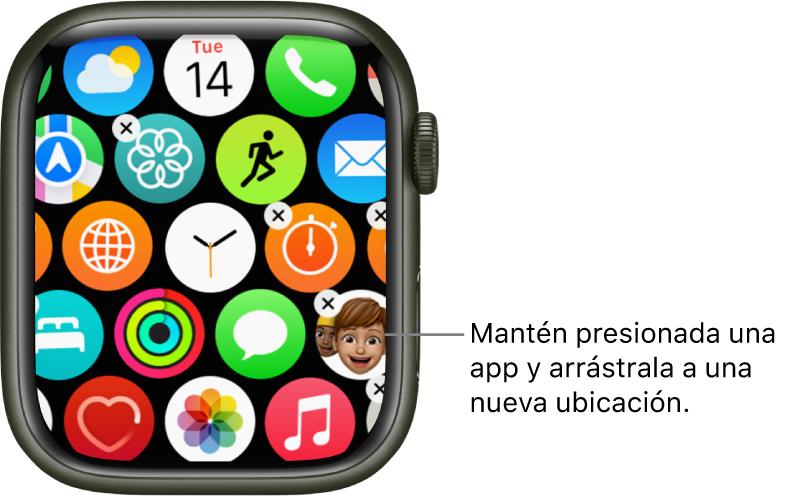 Pantalla de inicio del AppleWatch en la visualización como cuadrícula.