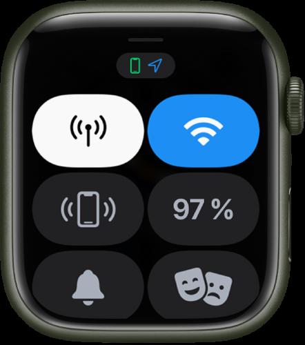 Le centre de contrôle affichant six boutons: Cellulaire, Wi-Fi, «Faire sonner», Batterie, «Mode Silence» et «Mode Spectacle».