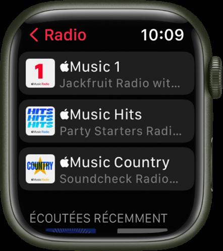L'écran Radio affichant trois stations de radio AppleMusic.