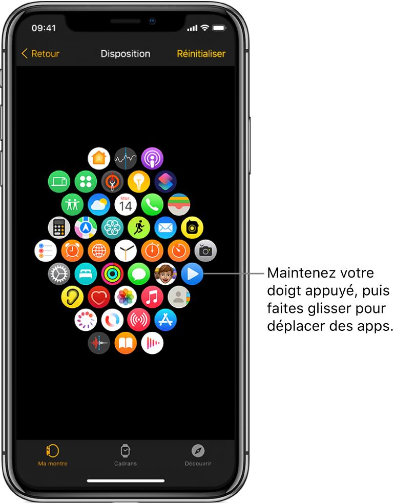 L'écran Disposition de l'app AppleWatch présentant une grille d'icônes.