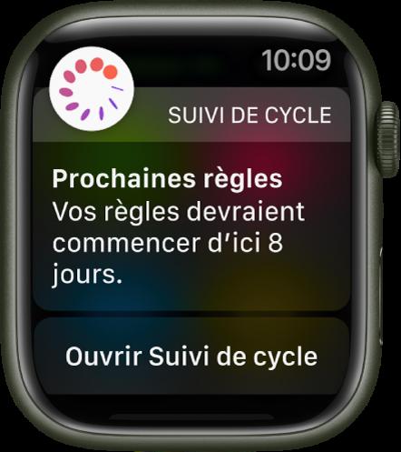 AppleWatch montrant un écran de prédiction de cycle indiquant «Prochaines règles. Vos règles devraient commencer d'ici 8jours.» Un bouton «Ouvrir Suivi de cycle» s'affiche en bas de l'écran.