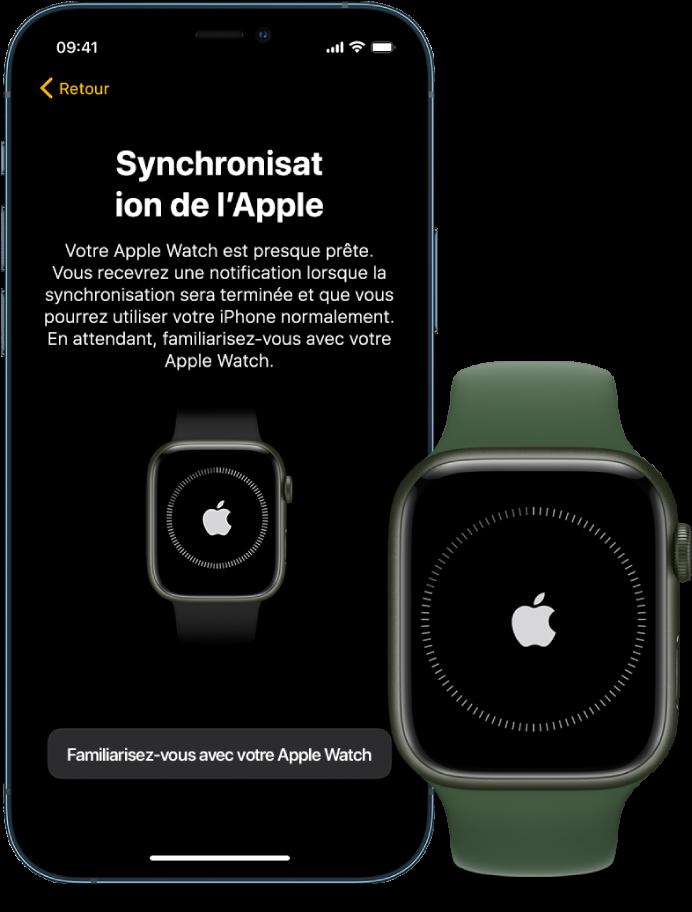 Un iPhone et une AppleWatch affichant leur écran de synchronisation.