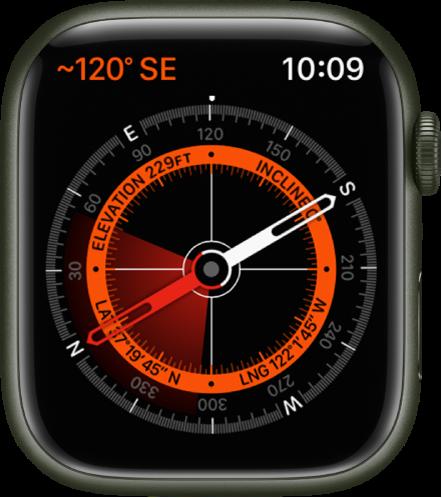 App Kompas. Di kiri atas terdapat bearing. Lingkaran dalam menampilkan elevasi, kemiringan, garis lintang, dan garis bujur. Bidikan putih muncul menunjuk ke utara, selatan, timur, dan barat.