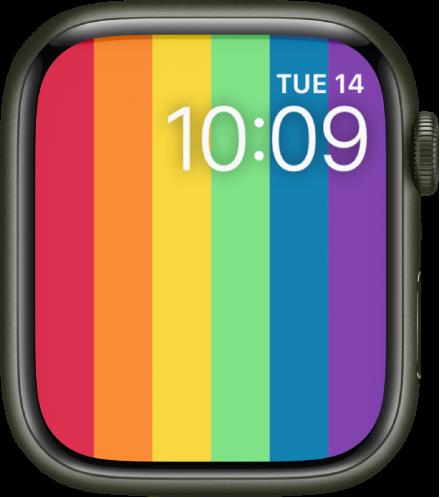 세로 무지개 줄무늬가 있고 날짜와 시간이 오른쪽 상단에 표시된 프라이드 디지털 시계 페이스.