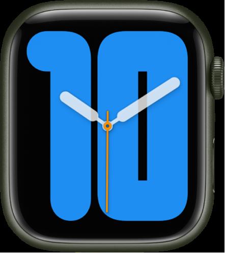 시간을 나타내는 큰 숫자 위로 아날로그 시곗바늘을 표시하는 숫자 모노 시계 페이스