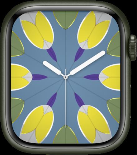컴플리케이션을 추가하고 시계 페이스 패턴을 조절할 수 있는 만화경 시계 페이스.
