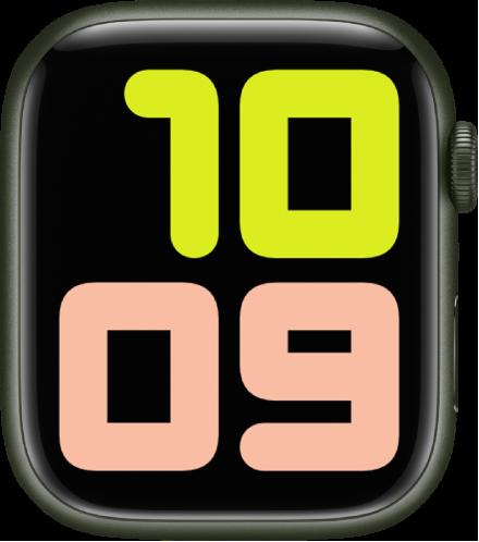 숫자 듀오 시계 페이스가 10:09를 매우 큰 숫자로 표시함.