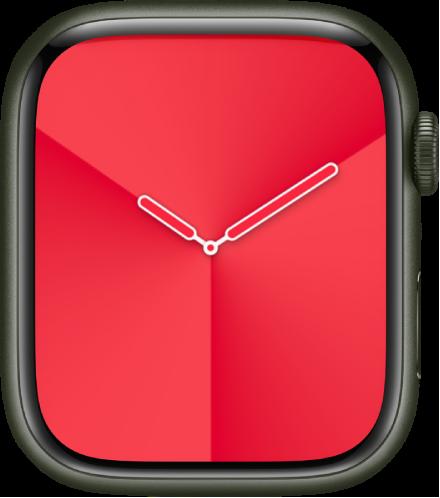 그라디언트 시계 페이스에서 페이스 색상, 스타일 및 다이얼을 조절할 수 있음.