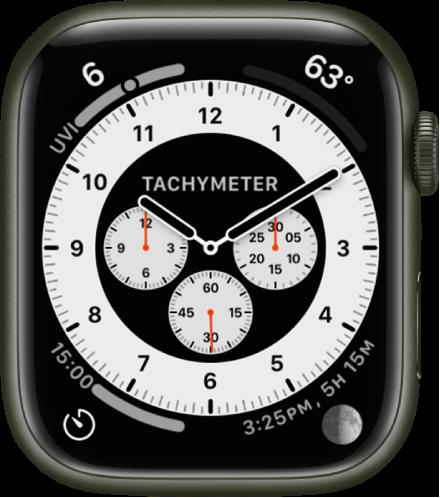 크로노그래프 프로 시계 페이스의 타키미터 변형. 시계 페이스에 표시된 네 개의 컴플리케이션으로 왼쪽 상단에 자외선 지수, 오른쪽 상단에 온도, 왼쪽 하단에 타이머, 오른쪽 하단에 달이 있음.