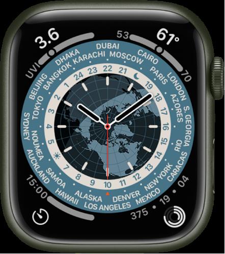 아날로그 시계를 표시하는 월드 타임 시계 페이스. 중앙에는 낮과 밤을 보여주는 지구본의 지도가 있음. 숫자와 도시 이름이 문자판에 표시되어 각 위치의 시간을 나타냄. 각 모서리에 표시된 컴플리케이션으로는 왼쪽 상단에 자외선 지수, 오른쪽 상단에 기온, 왼쪽 하단에 타이머, 오른쪽 하단에 활동이 있음.