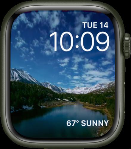 타임랩스 시계 페이스는 아름다운 지역의 타임랩스 비디오를 보여줌. 날씨 컴플리케이션이 하단에 있음.