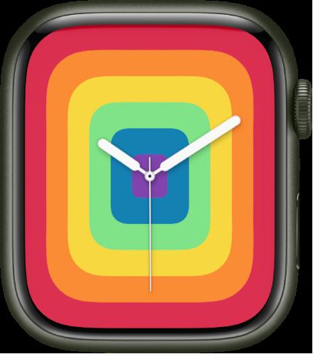 전체 화면 스타일을 사용하는 프라이드 아날로그 시계 페이스.
