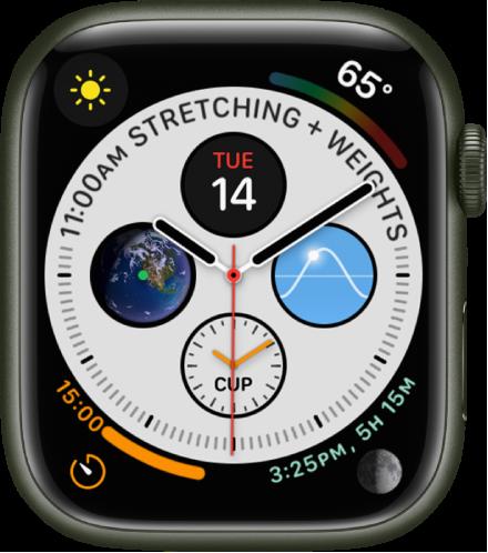인포그래프 시계 페이스의 각 모서리에는 컴플리케이션이 있고 중앙에 4개의 문자판이 있음.