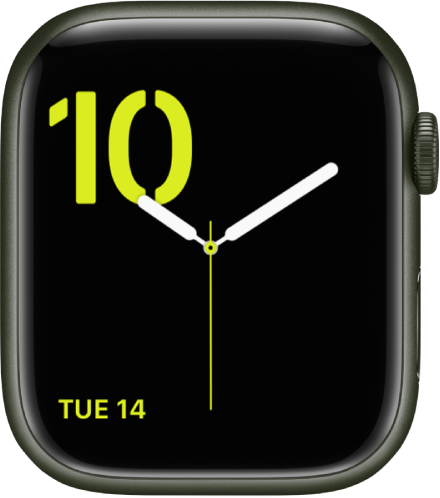 초록색의 스텐실 서체와 왼쪽 하단에 캘린더 컴플리케이션이 표시된 숫자 시계 페이스.
