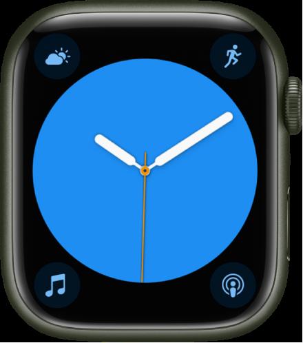 시계 페이스 색상을 조절할 수 있는 컬러 시계 페이스. 시계 페이스에 표시된 네 개의 컴플리케이션으로 왼쪽 상단에 기상 상태, 오른쪽 상단에 운동, 왼쪽 하단에 음악, 오른쪽 하단에 팟캐스트가 있음.