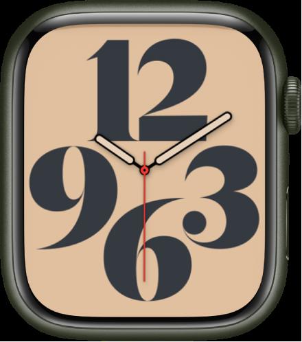 아라비아 숫자를 사용하여 시간을 보여주는 타이포그래피 시계 페이스.